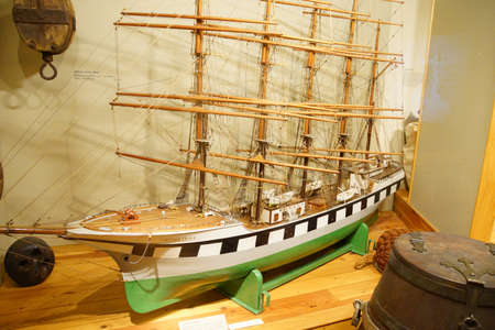 clipper: ASTORIA, OREGON - OCT 1, 2015 - Model of a  clipper ship,  Astoria, Oregon
