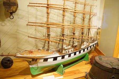ASTORIA, OREGON - OCT 1, 2015 - Model of a  clipper ship,  Astoria, Oregon