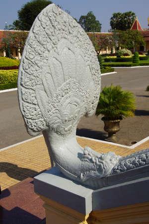 phnom penh: Naga serpent statue  at the National Palace,  Phnom Penh,   Cambodia