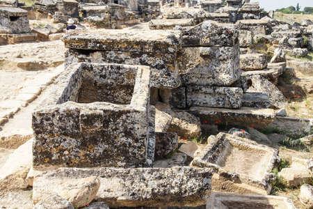 necropolis: Monumental tomb in the necropolis of  Hierapolis,  Turkey Stock Photo