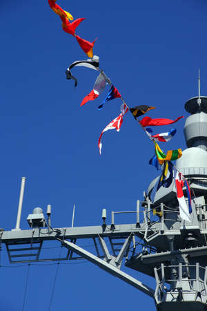 fleet: SEATTLE - AUG 4, 2016 - Bridge and signal flags of the USS Gridley  (DDG 101) guided missle destroyer, docked in Seattle for Fleet Week Editorial