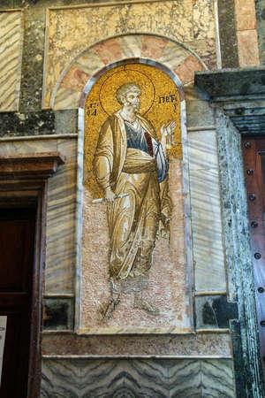 ISTANBUL, TURKEY - MAY 15, 2014 - Mosaic portrait of St. Peter, Chora Church (Kariye Muzee ) in Istanbul, Turkey