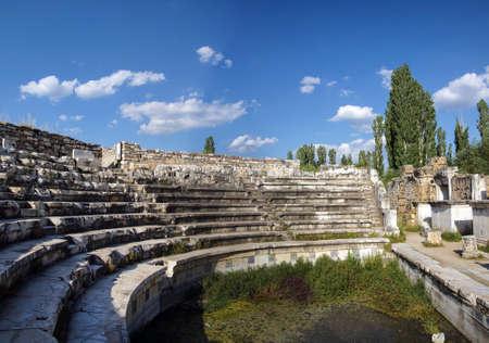 Seats of odeon Boulouterion Aphrodisias,  Turkey Stock Photo