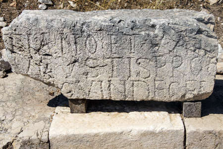 Inscriptions on ruins of ancient cemetery markers,  Xanthus ( Xantos) , Turkey