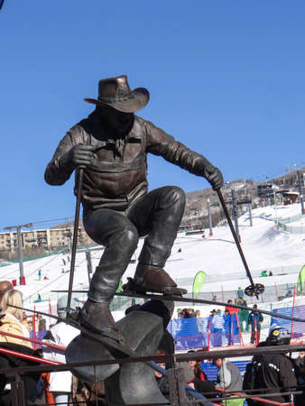 steamboat: STEAMBOAT SPRINGS, COLORADO - JAN 20 - Statue of Billy Kidd, Olympuic medalist,  40th Annual Cowboy Downhill Race in 2014 at Steamboat Springs, Colorado Editorial