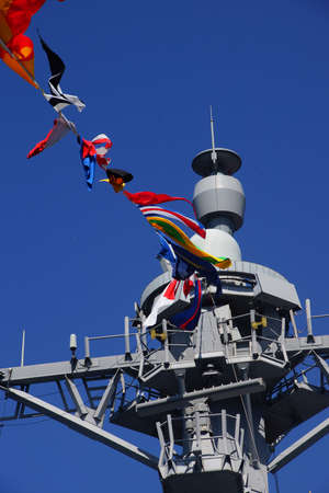 docked: SEATTLE - AUG 4, 2016 - Bridge and signal flags of the USS Gridley  (DDG 101) guided missle destroyer, docked in Seattle for Fleet Week Editorial