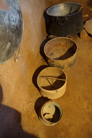 ecological adaptation: Cooking bowls  inside traditional beehive houses  in Harran,  Turkey