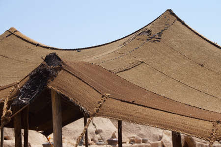 ecological adaptation: Traditional woven wool tent canopy in  Harran near the Syrian border, Turkey