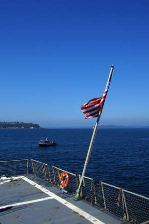 SEATTLE - AUG 4, 2016 - Flag on stern of USS Gridley  (DDG 101) guided missile destroyer, docked in Seattle for Fleet Week