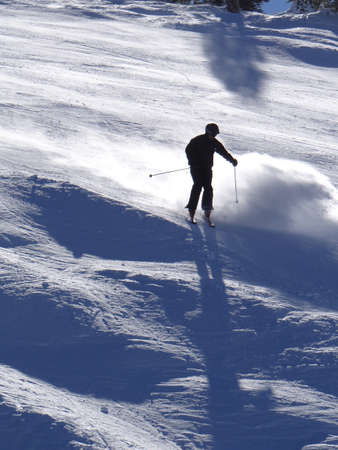 piste: silhouette of skier on the Tornado piste run Steamboat Springs, Colorado Stock Photo