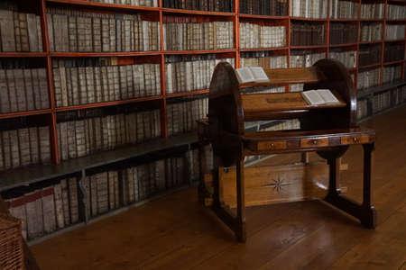 volumes: PRAGUE - SEP 1 , 2016 - Medieval library of Strahov Monastery,  Prague, Czech Republic
