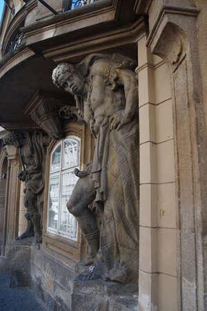 moor: PRAGUE - SEP 1 , 2016 - Moor holding up a balcony  on Nerudova Street,  Prague, Czech Republic Editorial
