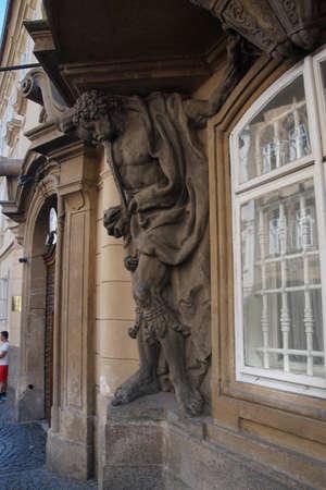 PRAGUE - SEP 1 , 2016 - Moor holding up a balcony  on Nerudova Street,  Prague, Czech Republic Editorial