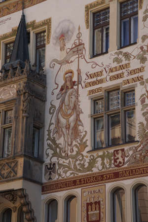 fresco: PRAGUE - AUG 31, 2016 - Balcony and  fresco of Storch House,  Prague, Czech Republic