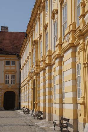 courtyard: Baroque courtyard of Benedictjne abbey at  Melk, Austria