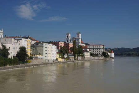 inn: Baroque waterfront of Passau seen from the Inn river Passau, Germany