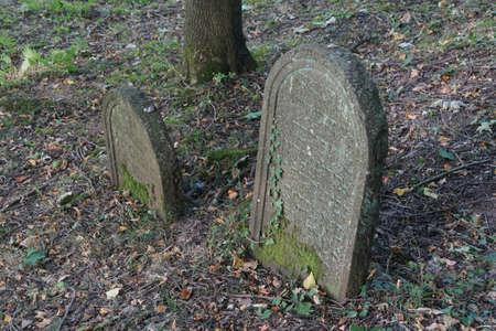 headstones: WERTHEIM, GERMANY - SEP 13, 2016 - Headstones in ancient Jewish cemetery,  Wertheim, Germany Editorial