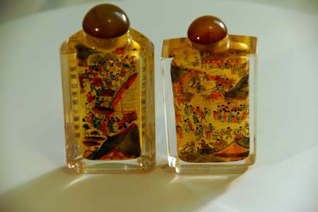 snuff: SEATTLE - JUL 1, 2016 - Chinese crystal snuff bottle, painted from the inside