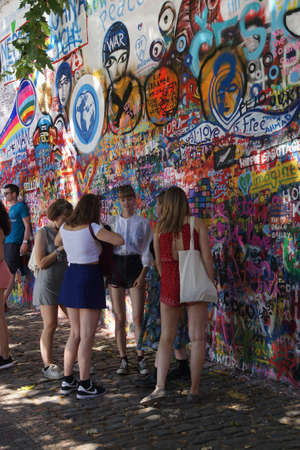Prague Aug 31 2016 Lennon Wall Symbol Of Prague Resistance