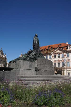 PRAGUE - AUG 31, 2016 - Jan Hus memorial in Stare Mesto, Old Town of  Prague, Czech Republic