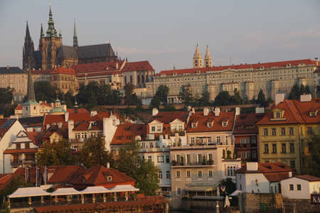 vitus: Prague Hradcany castle and St Vitus Cathedral in early morning  on Vltava River in  Prague, Czech Republic Editorial