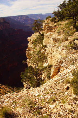 hopi: late afternoon view into the Colorado River gorge on the South Rim Trail,at the Grand Canyon National Park, Arizona Stock Photo