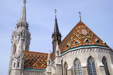 Ceramic tiles on roof of Matthias church, Budapest, Hungary Stock Photo