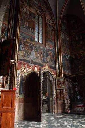 vitus: PRAGUE - SEP 1 , 2016 - Frescoes on St Wenceslas chapel of St  Vitus cathedral in  Prague, Czech Republic