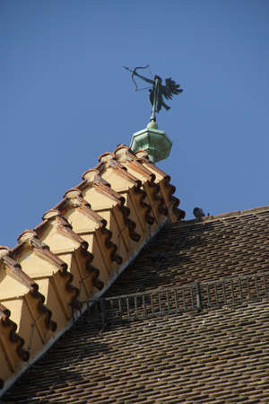 roof ridge: Weather vane on ridge of  tiled roof in  Regensburg, Germany Stock Photo