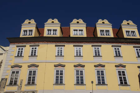 stare mesto: PRAGUE - AUG 31, 2016 - Baroque building fronts facing Stare Mesto, Old Town of  Prague, Czech Republic