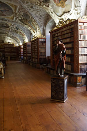 PRAGUE - SEP 1 , 2016 - Medieval library of Strahov Monastery,  Prague, Czech Republic