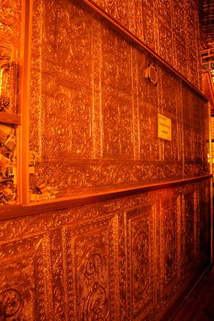 relic: YANGON, MYANMAR - MAR 2, 2015 - Golden walls of the Shrine for Buddhas hair relic Botataung Pagoda, Yangon,  Myanmar (Burma)