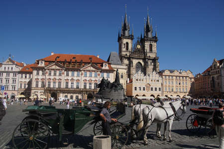 PRAGUE - AUG 31, 2016 - Horse and carriage in Stare Mesto, Old Town of  Prague, Czech Republic Editorial