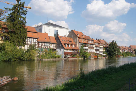 timbered: Half timbered renaissance houses along the river in   Bamberg, Germany