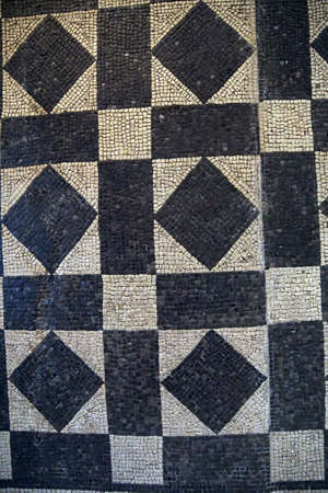 mosaic floor: COLOGNE, GERMANY - SEP 15, 2016 - Black and white floor mosaic pattern,  Roman - Germanic Museum,  Cologne, Germany