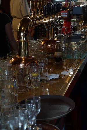 KUTNA HORA, CZECH REPUBLIC - SEP 3, 2016 -  Empty glasses on the bar in  Kutna Hora, Czech Republic