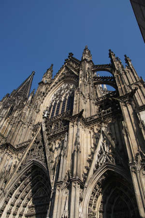 buttresses: COLOGNE, GERMANY - SEP 15, 2016 - Flying buttresses of St Peters Cathedral,  Cologne, Germany Editorial
