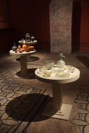 germanic: COLOGNE, GERMANY - SEP 15, 2016 - Ancient glass vases and pottery,  Roman - Germanic Museum,  Cologne, Germany