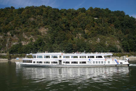 sep: PASSAU, GERMANY - SEP 8, 2016 - River cruise ship on the Danube River,  Passau, Germany Editorial