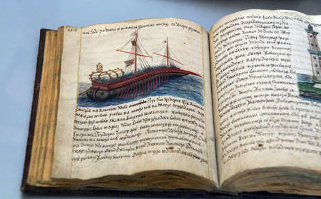 volumes: PRAGUE - SEP 1 , 2016 - Illuminated manuscripts in the medieval library of Strahov Monastery,  Prague, Czech Republic Editorial