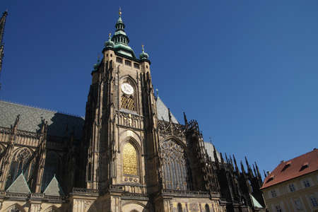 South tower of  St Vitus Cathedral,  Prague, Czech Republic Stock Photo