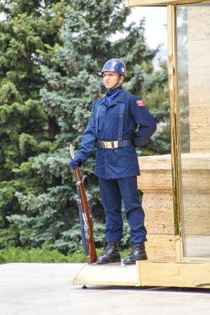 ataturk: ANKARA, TURKEY - MAY 21, 2014 - Soldier at the changing of the guard ceremony for the Ataturk Mausoleum,  Ankara, Turkey