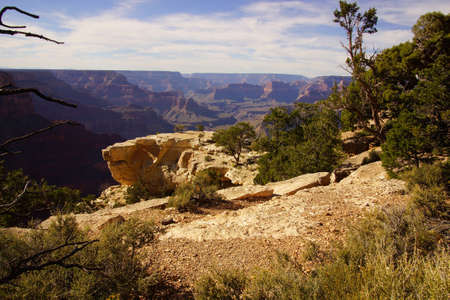 late afternoon view into the Colorado River gorge on the South Rim Trail,at the Grand Canyon National Park, Arizona Stock Photo