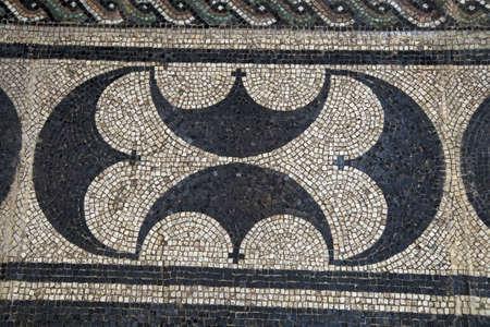 mosaic floor: COLOGNE, GERMANY - SEP 15, 2016 - Geometric floor mosaic pattern,  Roman - Germanic Museum,  Cologne, Germany