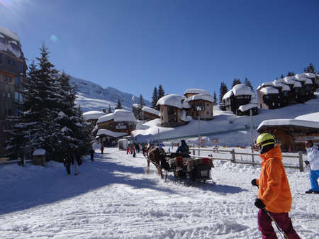 horse sleigh: AVORIAZ, FRANCE - FEB 12, 2014 - Horse drawn sleigh brings visitors to alpine resort in France