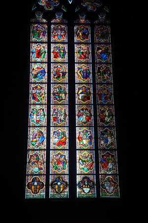 stained glass windows: COLOGNE, GERMANY - SEP 15, 2016 - Stained glass windows, St Peters Cathedral,  Cologne, Germany Editorial
