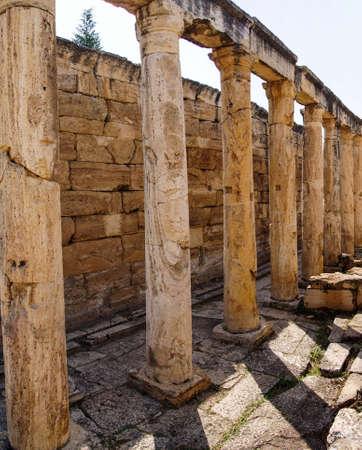 hierapolis: Ruins of collonaded street near the Arch of Domitian Hierapolis, Turkey Stock Photo