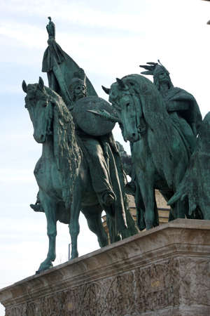 chieftain: BUDAPEST - SEP 4, 2016 - Equestrian statue of Magyar tribal chieftain, Heroes Square monument, Budapest, Hungary