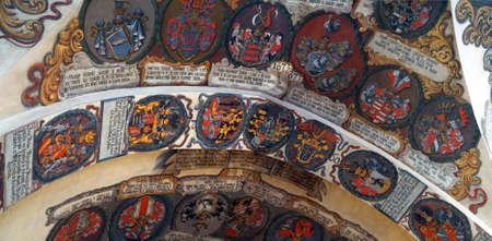 프라하 -2006 년 9 월 1 일 - 로얄 팰리스, 프라하, 체코 공화국에서 보헤미안 귀족들의 무기 문장 에디토리얼