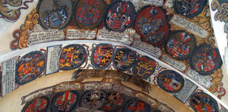 PRAGUE - SEP 1 , 2016 - Coats of arms heraldry of Bohemian nobility in the Royal palace,  Prague, Czech Republic 新聞圖片